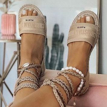 Dior CD Fashion Sexy Ladies Shoes Personalized Woven Lace Sandals