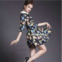 Black Floral Print Sleeve Collar  Pleated Dress With Belt