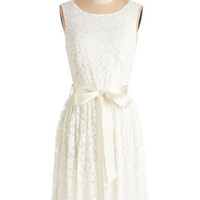 Mid-length Sleeveless A-line Lovely as Lychee Dress in Cream