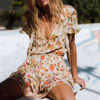 Sayulita Short Sleeve Frill Mini Dress