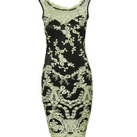 Black Vintage Lace Gold Embroidered Floral Fitted Cocktail Pencil Party Dress