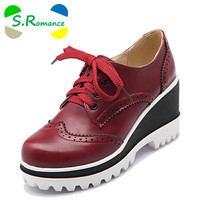 S.Romance Plus Size 34-43 Women Pumps Fashion Round Toe Lace-Up Med Heels Ankle Boots Woman Shoes Black White Red Brown SH406