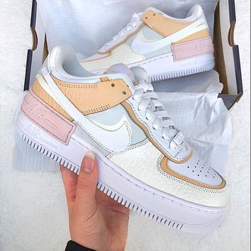 Nike WMNS Air Force 1 Shadow Hot Couple Style Colorblock Platform Casual Sneakers #10 Shoes
