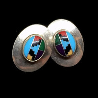 Sterling Silver Earrings Turquoise Onyx Inlay Southerwestern