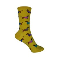 Haute Dog Crew Socks in Mimosa Yellow