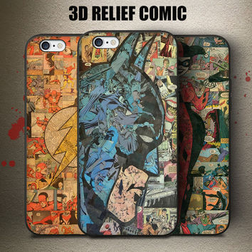 Comic Style The Flash Batman Harley Quinn Phone Case Conque 5S SE 6 6S Plus Cover For iPhone Awesome Heroes 3D Relief Fundas