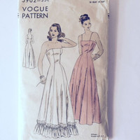 Vintage Vogue 5902 Sewing Pattern Prom Bridesmaid Wedding Gown Womens 14 Uncut