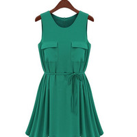 Elegant hunter a line round necklace mini summer dress
