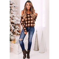 Dapper Darling Plaid Top (Mocha)