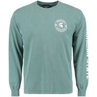 Men's Blue 84 Green Michigan State Spartans Overdyed Long Sleeve T-Shirt