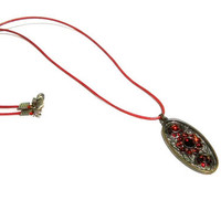 Antique Bronze Oval Pendant Necklace , Faceted Crystal Pendant ,  Red Leather Necklace  , Boho, Vinta