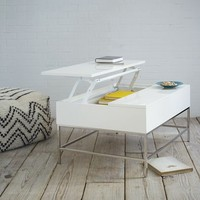 Storage Coffee Table - White Lacquer