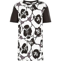 River Island Womens White large pansy print oversized tunic