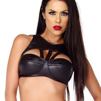 High Collar Push Up Bra With Strappy Detail Stripper Clothing