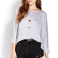 FOREVER 21 Everyday Dolman Top Heather Grey