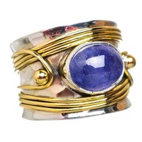 Two Tone Tanzanite Sterling Silver Band Ring