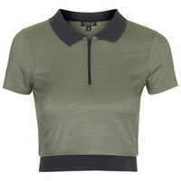 Knitted Polo Crop Top - Khaki