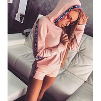 GIVENCHY BALENCIAGA Classic Popular Women Casual Print Hoodie Short Sleeve Top Shorts Set Two Piece Sportswear Pink