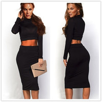 Feelinggirl black sexy dress long sleeve spring autumn women dress turtleneck party 2 piece dress (Size: One Size, Color: Black) = 1696861892