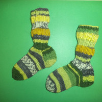 SALE Handmade green multicolor Casual unisex little kids socks, Cozy socks, Winter socks, Boot socks,