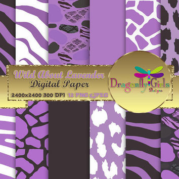 80% OFF Sale WILD About Lavender Black, paperpacks, commercial use, digital scrapbook papers, vector graphics, printable, Instant Download