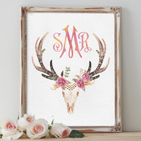 Custom Monogram Wall Art Printable Personalized Watercolor Print Deer Antlers Nursery Room Decor Boho Chic Home Decor Printable Bohemian Art
