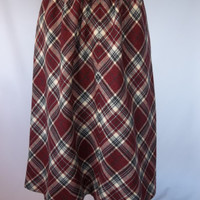 Vintage high waisted red plaid A line wool skirt small to medium