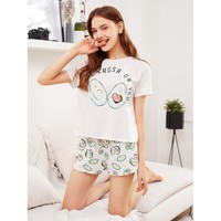 Multicolor Polyester Print Pajama Set