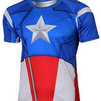 Captain America Print Zipper Design Short Sleeve T-Shirt