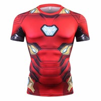 Avengers 3 Short Sleeve Compression Shirts Iron Man 3D Printed T shirts Men 2018 Summer NEW Crossfit Top For Male Fitness Cloth