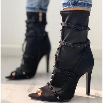 New high heel riveted fish-toe boots for ladies