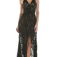 Thanks For The Memories Black Sheer Lace Sequin Spaghetti Strap V Neck Front Slit Maxi Dress Evening Gown