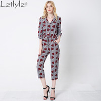 Rompers women jumpsuit 2016 spring summer Fashion print sexy Elegant bodysuit female Overalls jumpsuit Plus size