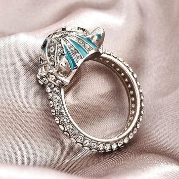 The Sterling Silver Cheshire Cat Full Diamond Ring Unique Creative Ring Is Very Beautiful