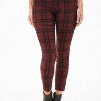 Plaid Cropped Skinny Pants