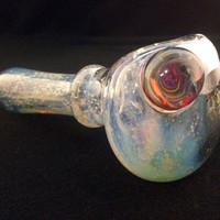 Purple Glass Silver Fumed Starry Night Color Changing Tobacco Space Pipe with Purple Sparkle Planet