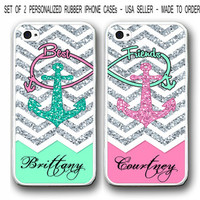 PERSONALIZED MIX MINT PINK CHEVRON ANCHOR Best Friends Case For iPhone 7 6S SE 5