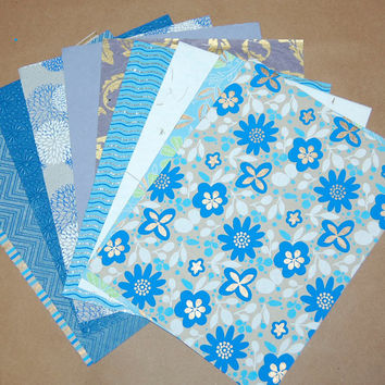 """Decorative Paper Pack - Blue and Gold Paper Set of 10 Printed, Embossed, Stamped and Glittered Paper Sheets; 8.5"""" x 11""""."""