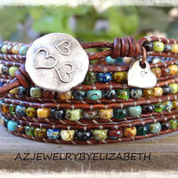 Seed Bead Leather Bracelet/ Seed Bead Leather Wrap Bracelet/ Boho Beaded Leather Wrap/ Bohemian Bracelet/Leather And Seed Bead Wrap Bracelet
