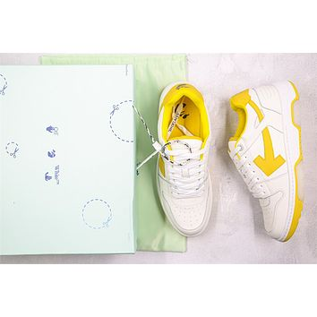OW c/o Virgil Abloh Out Of Office Low-top Leather Yellow Sneakers Size 40-45