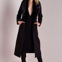 Missguided - Longline Wool Coat with Faux Fur Collar Black