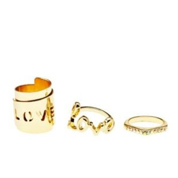Gold Love Stackable Rings - 3 Pack by Charlotte Russe