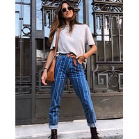 Hot style button striped jeans for women's wear