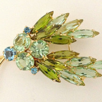 Juliana D and E Brooch Green Spray Teal Blue Rhinestones Vintage Navettes