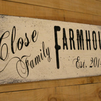 Personalized Farmhouse Decor Primitive Wood Sign Housewarming Gift Custom Name Sign Rustic Chic Decor Shabby Chic Decor Distressed Wood