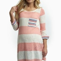 Pink Striped Accent Knit 3/4 Sleeve Maternity Top