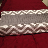 Fitted Contoured Changing Pad Cover - Grey and White Minky Chevron Shannon Fabrics Quality Cuddle Dimple Minky Fabric