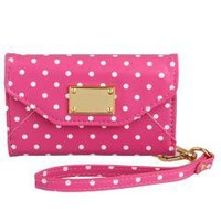Polka Dots Pink Flip Leather Wallet Case Cover for iPhone 4 4S
