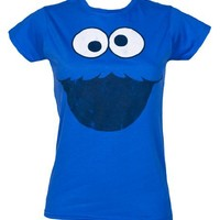 Sesame Street Cookie Monster Ladies Face Blue Tee T-Shirt Small