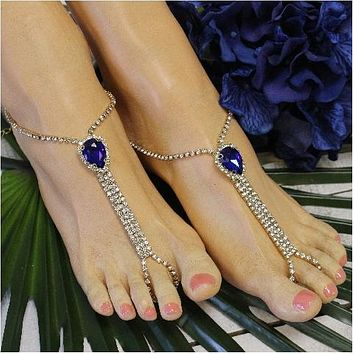 BRIDESMAID  rhinestone barefoot sandals - navy gold